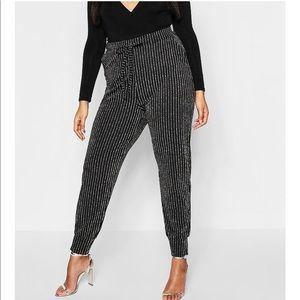 Plus Size Metallic Skinny Trouser